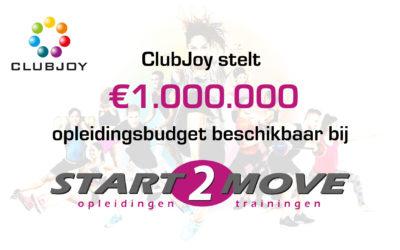 CLUBJOY STELT VOOR AANGESLOTEN CLUBS € 1.000.000 OPLEIDINGSBUDGET BESCHIKBAAR BIJ START2MOVE!